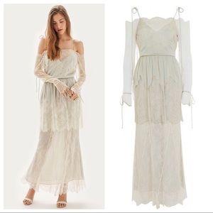 Topshop Bardot Lace Off The Shoulder Bridal Gown